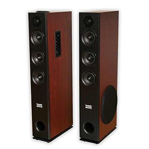 Acoustic Audio TSi550 Bluetooth Powered Floorstanding Tower Home Multimedia Speaker Pair See This Great Product