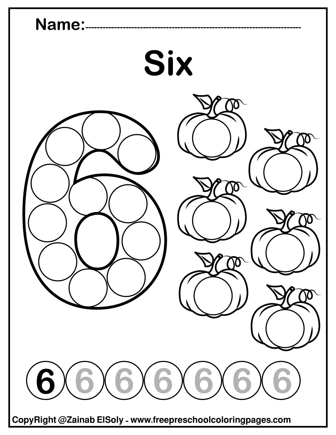 Number 6 Six Do A Dot Marker Activity Activity Pumpkins