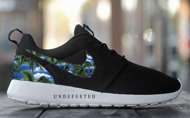 Custom Nike Roshe Run sneakers, Paint Spill, Splatter, black and teal design