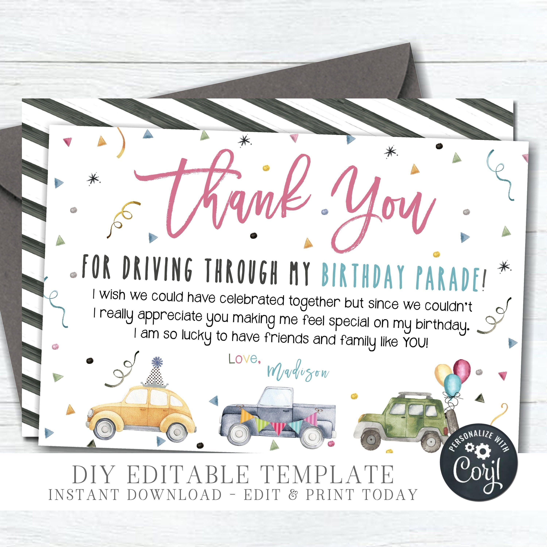 Editable Drive By Birthday Thank You Card Diy Thank You Etsy In 2021 Birthday Thank You Cards Birthday Thank You Thank You Cards