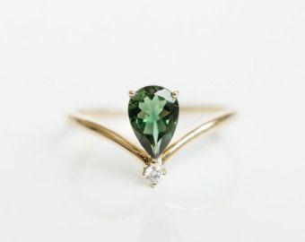 Sólido 18 k oro V forma rosa turmalina anillo de color por LILOOKS