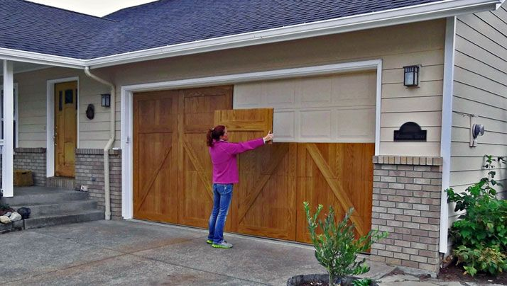 Garageskins give you a wood look without the cost woods for Cedar wood garage doors price