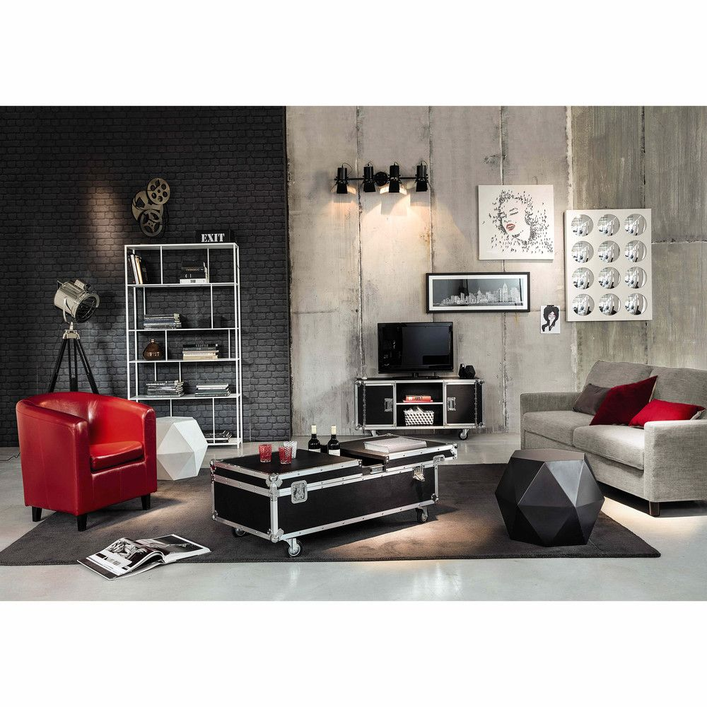 Tag Re En M Tal Blanche L 107 Cm Simply Maisons Du Monde  # Etagere Salon Tv
