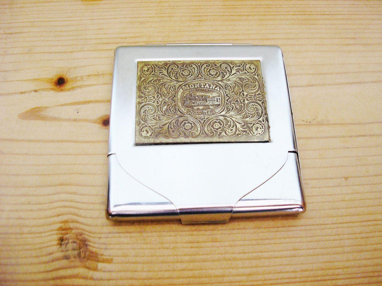 Vintage Montana Steam Train cigarette case box business card case ...