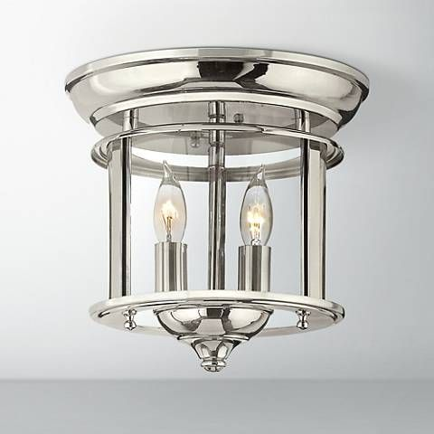 Hinkley gentry 9 1 2 wide polished nickel ceiling light style 8g756