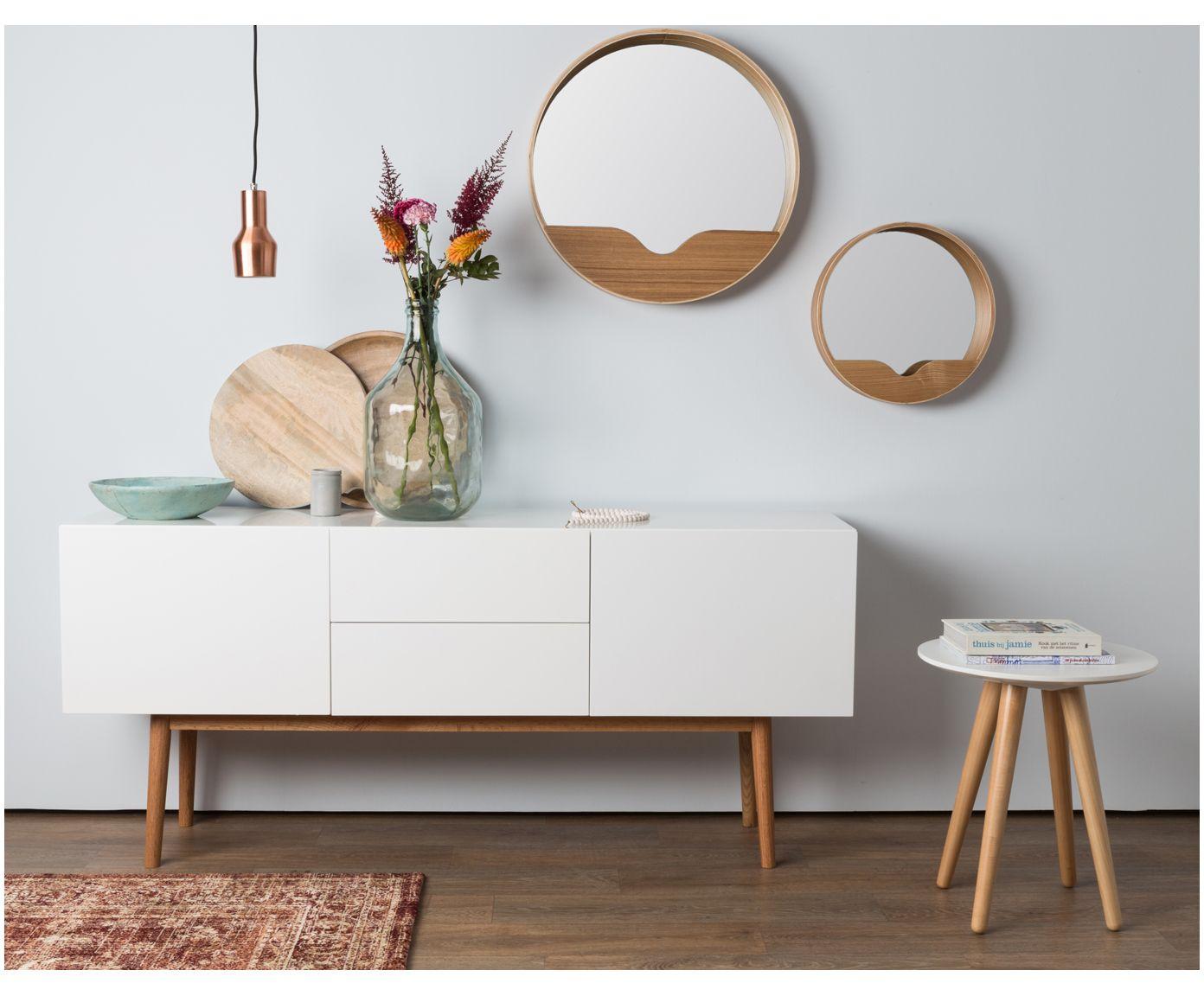 Wohnzimmer spiegelmöbel affiliatelink  wandspiegel round wall skandinavisch design