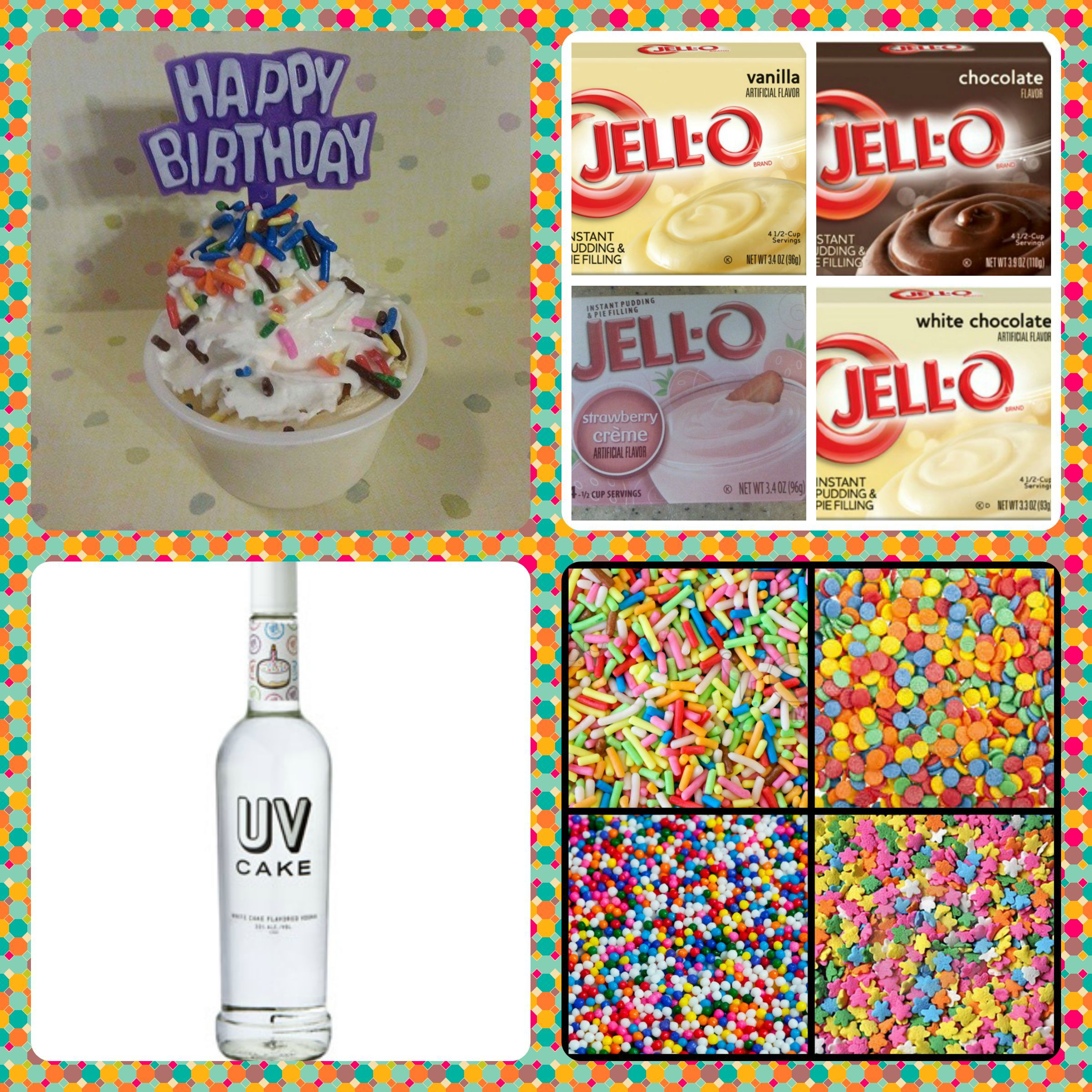 Birthday Cake Pudding Shots 1 small Pkg instant pudding of your