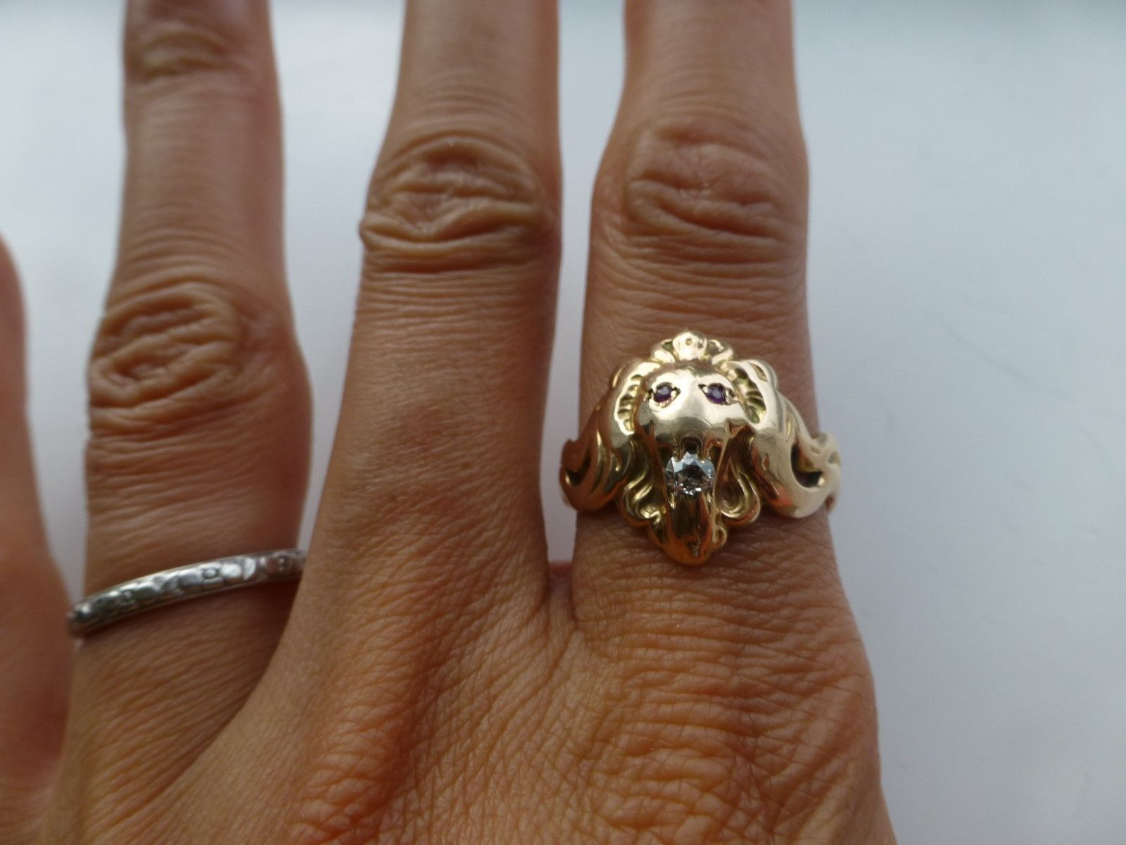 Antique 14k yellow rose gold lion s head ring men s ruby eyes