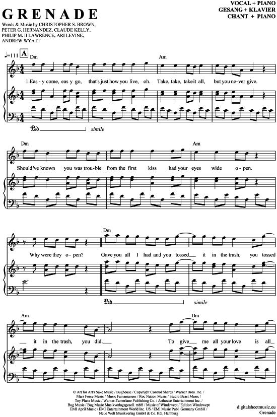 grenade piano sheet music pdf