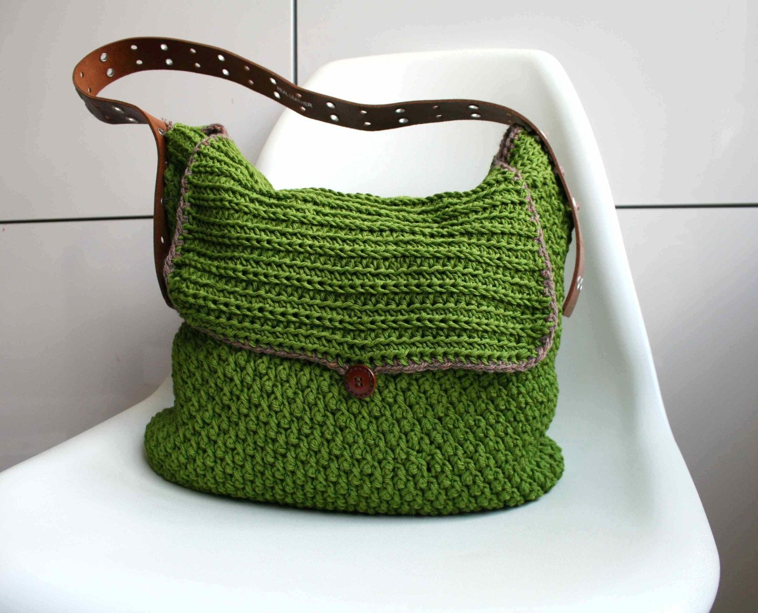 Crochet pattern crochet bag pattern Leather handle carry all crochet ...