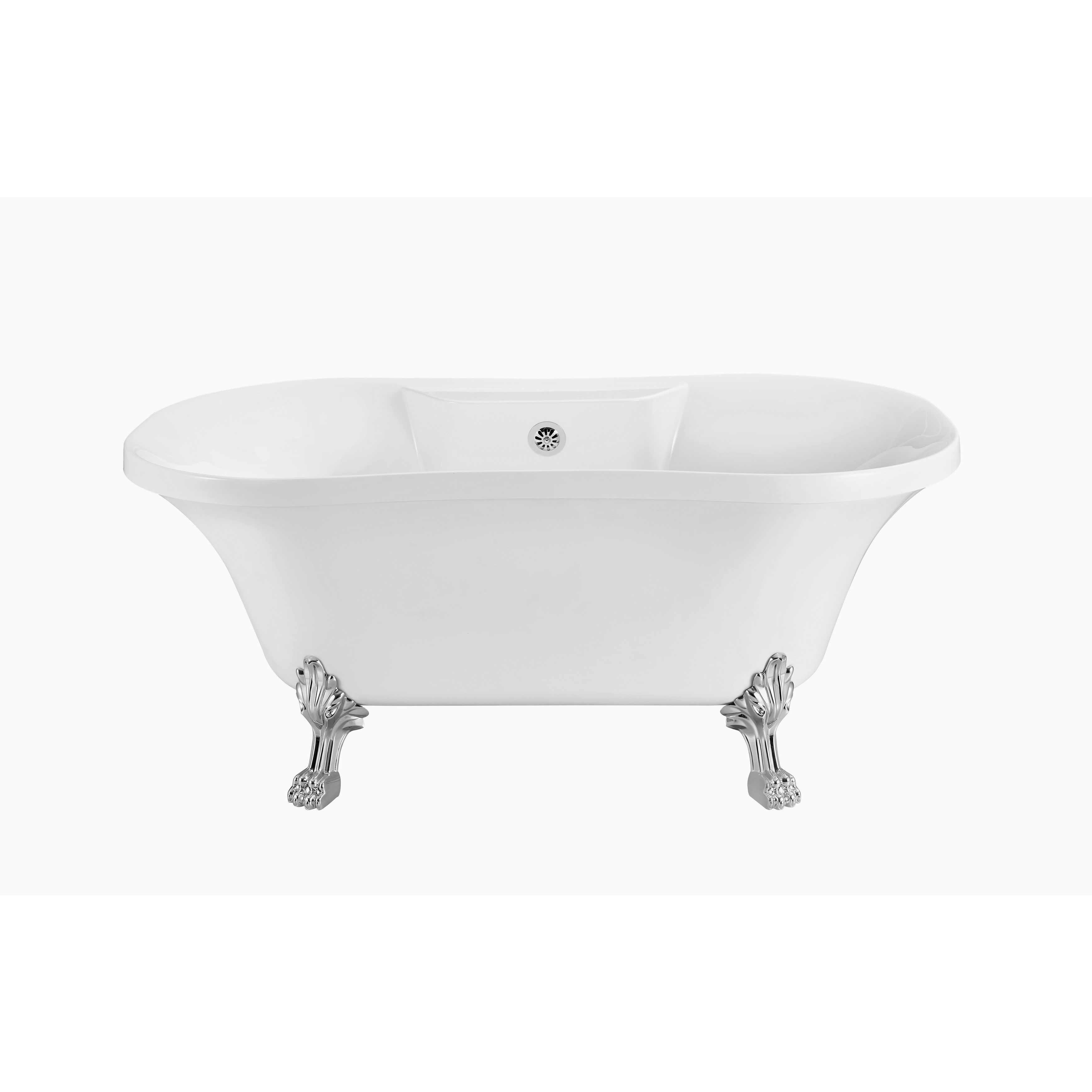 "Streamline 60"" Soaking Clawfoot Tub With External Drain"