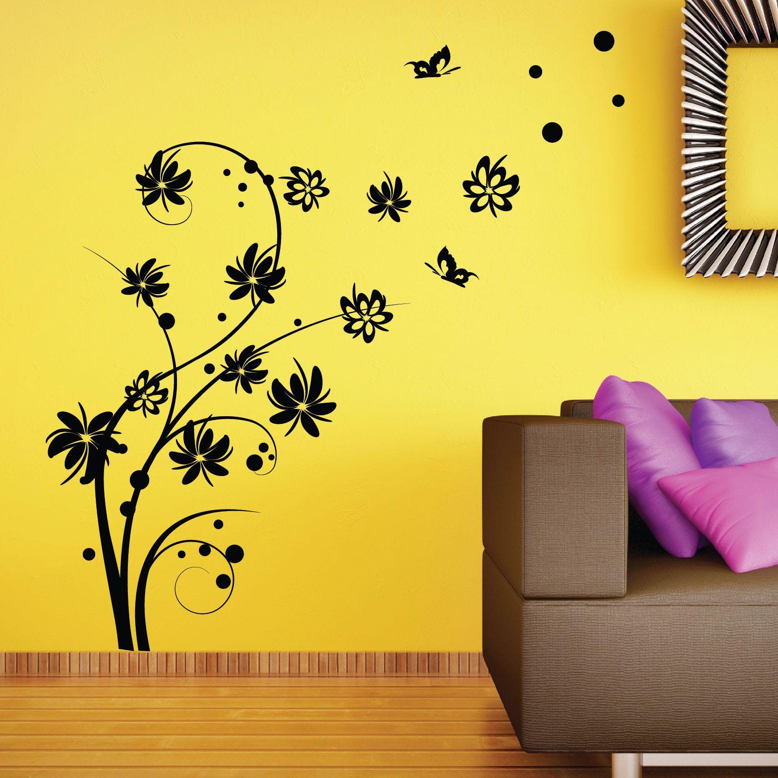 Grande farfalla vortice fiore adesivi da parete da for Stencil da parete
