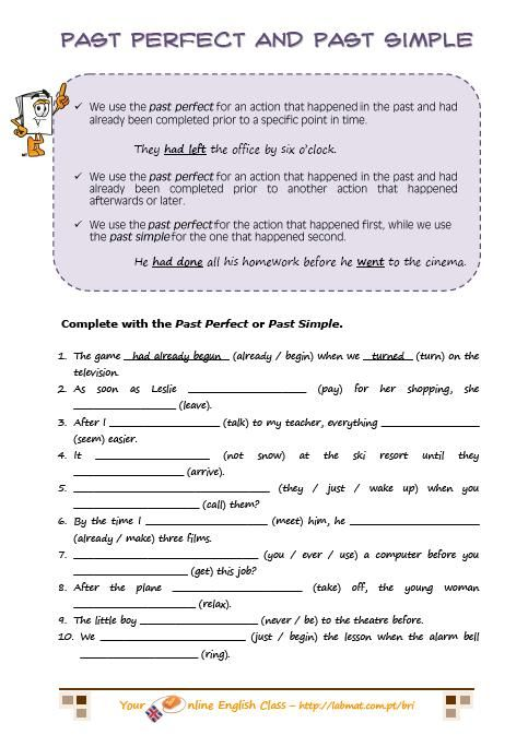 past perfect past simple exercises | English Learners | Pinterest ...