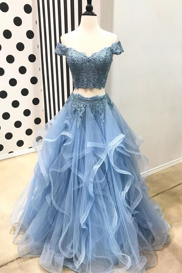 e27513fa9d 2 Pieces Short Sleeves Blue Lace Tulle Tiered Skirt Prom Dresses Evening  Party Dress LD1010