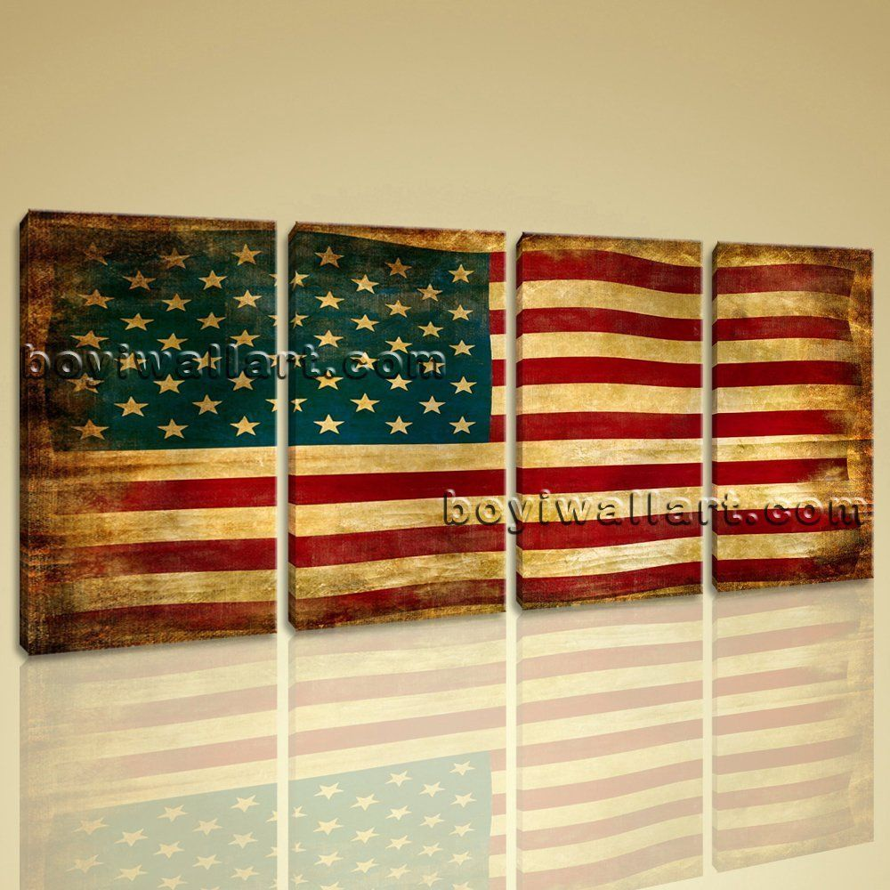 Large usa flag other abstract canvas art print decor bedroom