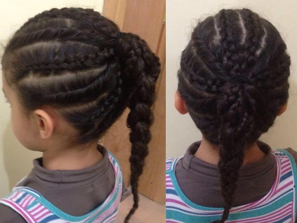 Queue de cheval tressée , coiffures pour petites filles