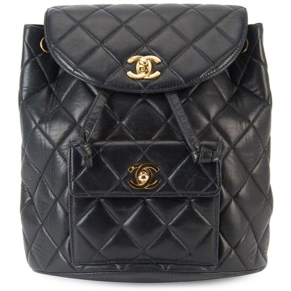 a4b4fd0d1efc Chanel Vintage Quilted Chain Backpack ($5,943) ❤ liked on Polyvore  featuring bags, backpacks, black, vintage backpack, leather rucksack,  vintage leather ...