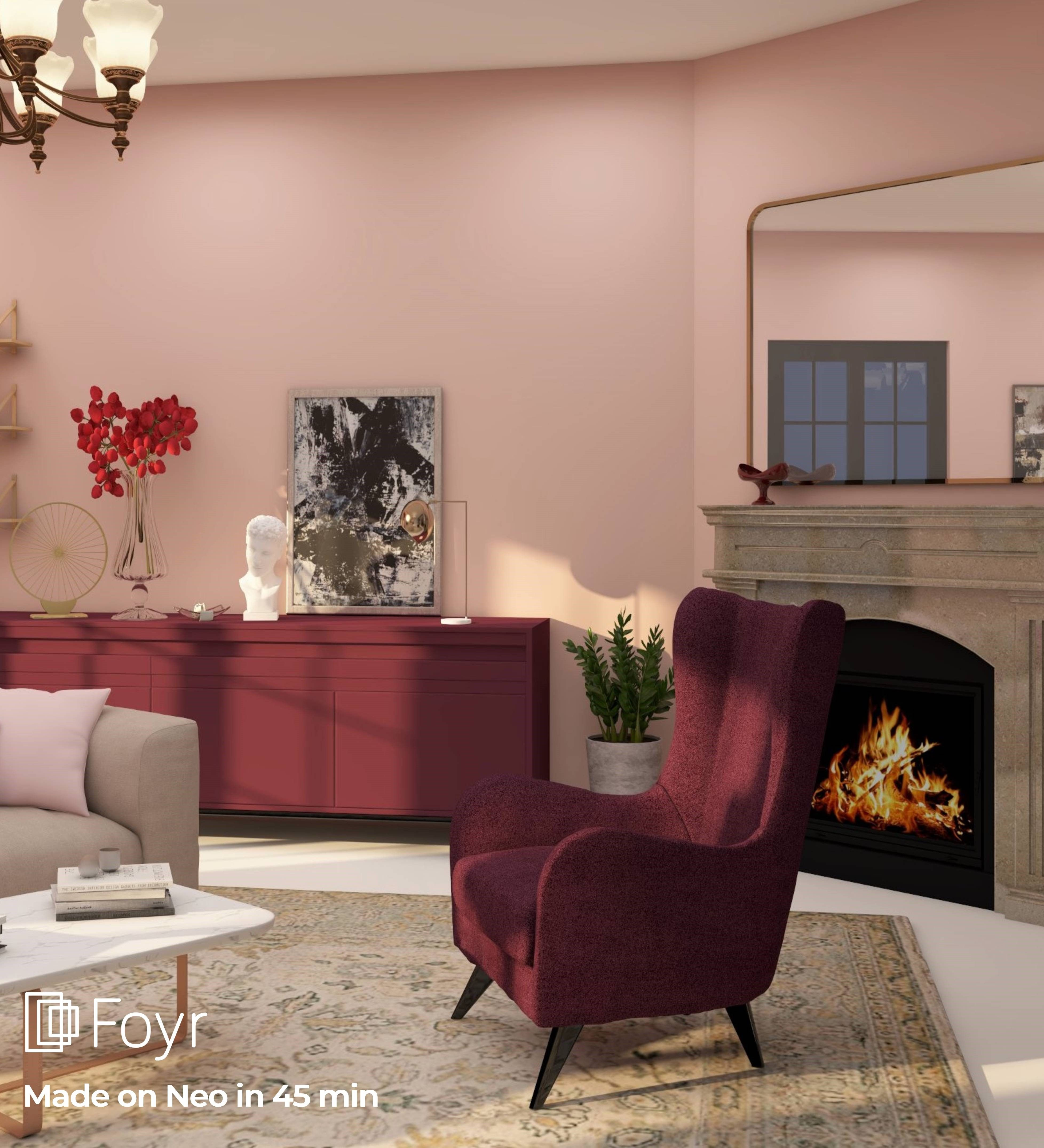 In this living room, the wall is painted with first light that perfectly matches with burgundy high back chair and sideboard. And with traditional chandelier and light vintage rug and a cozy fireplace. #foyrneo #interiordesignideas #redcolor #burgundy #homedecor #interiordesign #interiordecoration #architecture #beautifulhomes #interiorhome #livingroom #architecturaldigest #eclecticstyle #corner #3ddesignsoftware