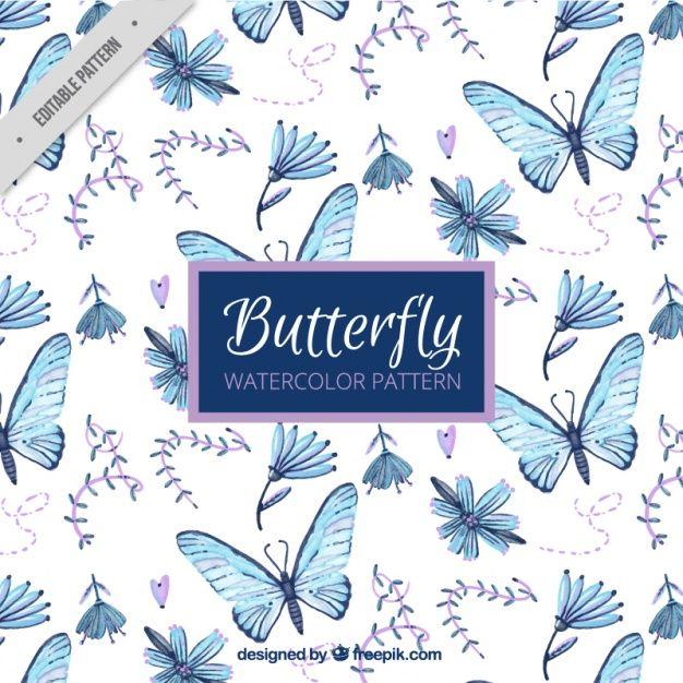 Patrón de mariposas y flores pintadas a mano Vector Gratis ...