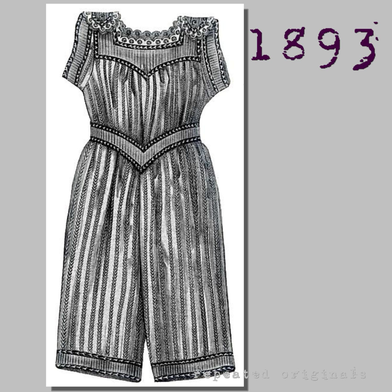 Bathing Costume for a Girl - Victorian Reproduction PDF Pattern - 1890's -  made from original 1893 pattern by RepeatedOriginals on Etsy