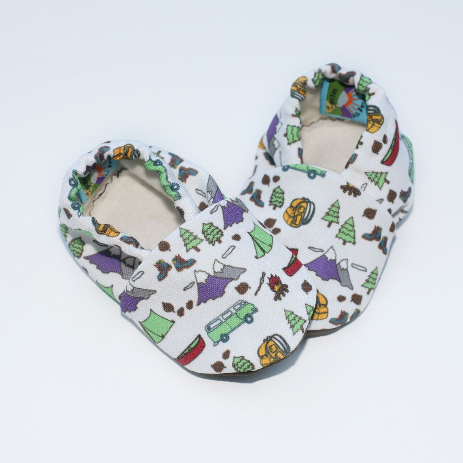 Baby Shoes. Happy Camper Baby Booties. Eco Canvas with Organic Fleece Linings. Camping Theme Baby Shoes. Camp Baby Slippers by GrowingUpWild on Etsy https://www.etsy.com/listing/260829735/baby-shoes-happy-camper-baby-booties-eco