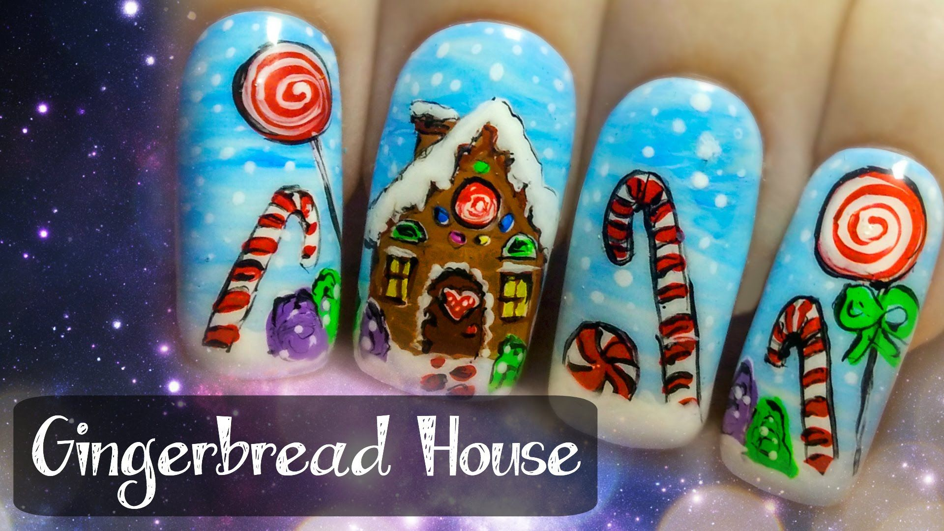 Gingerbread House ⎮ Christmas Freehand Nail Art Tutorial | Freehand ...