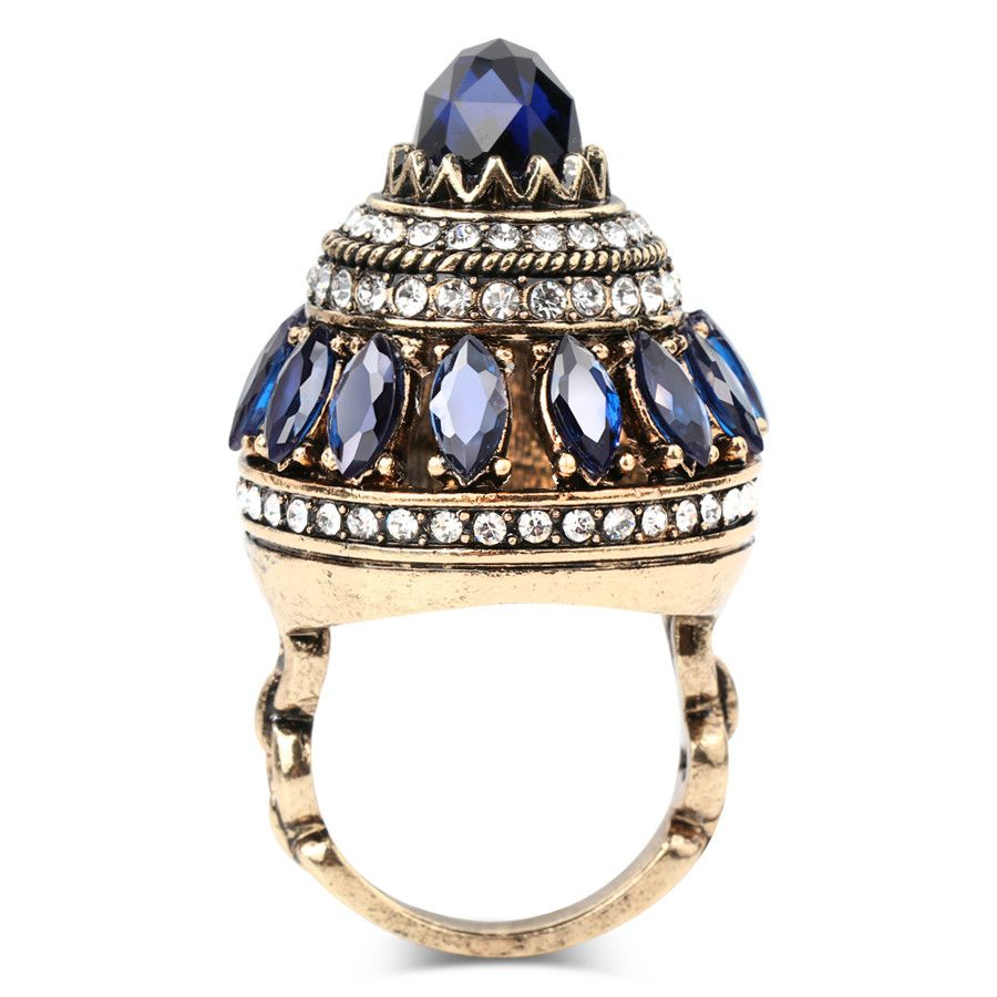 Gulkina Antique Gold Blue Crystal Large Ring Turkish