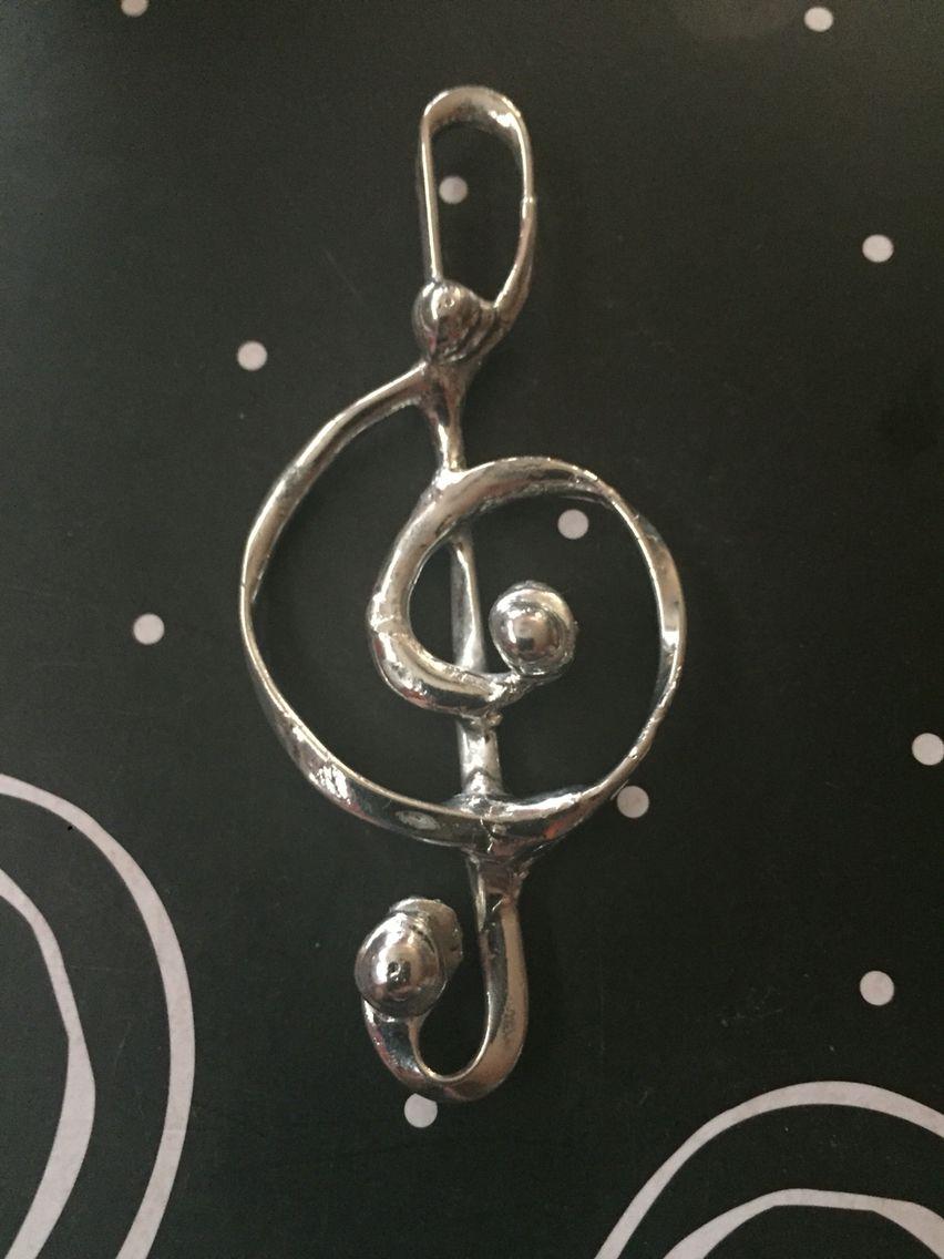 Handmade sterling solder treble clef