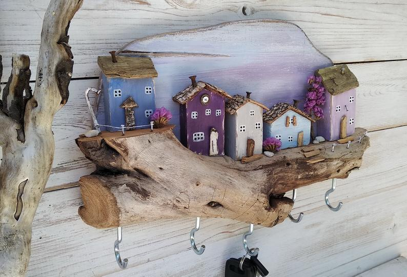 Photo of Driftwood Houses, Wooden Key Hanger, Wall key holder hooks, Wooden nautical decor, Wooden Wall Hook, Unusual gift, Housewarming Gift