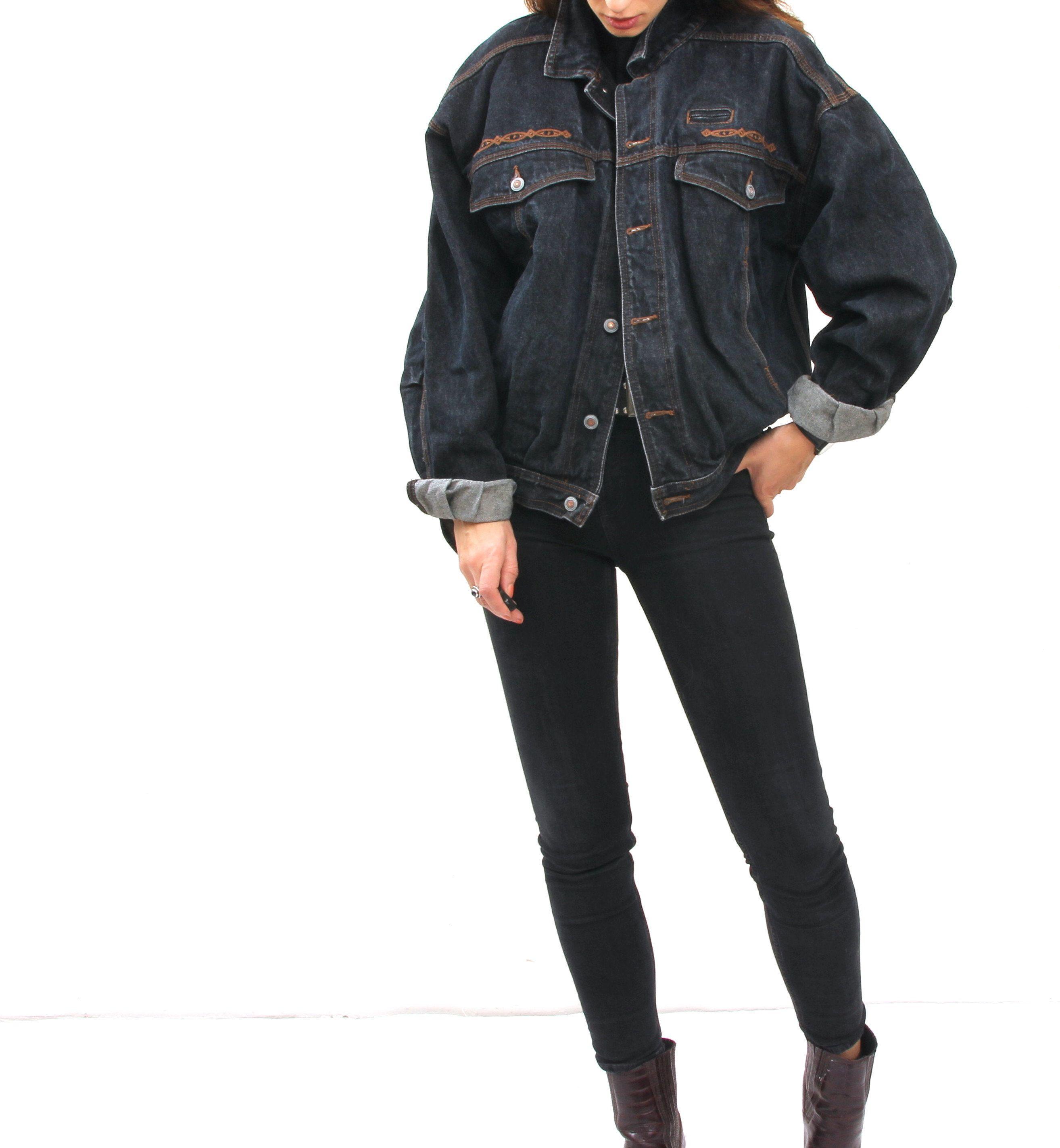 Vintage Black Oversized Jean Jacket Western Embroidered Jacket Etsy Oversized Jean Jacket Embroidered Jacket Jackets [ 2845 x 2628 Pixel ]