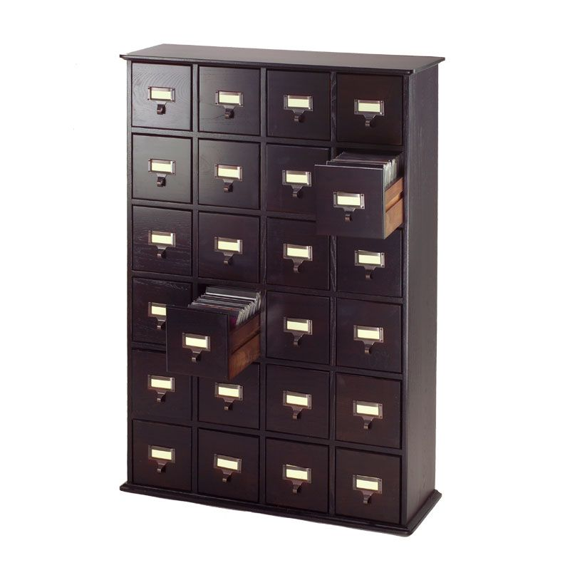 Shop the Espresso Library Style DVD Cabinet - Leslie Dame DVD Storage - on sale by Leslie Dame and compare part from the CD u0026 DVD Media Storage department ...  sc 1 st  Pinterest & A hand-rubbed oil finish. 24 card-catalogue-style drawers perfectly ...