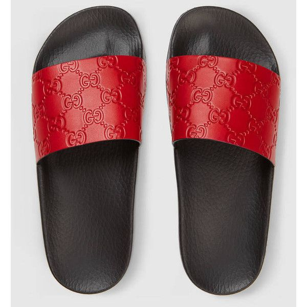 8ab42799b Gucci Signature Slide Sandal ($295) ❤ liked on Polyvore featuring shoes,  sandals, genuine leather shoes, print shoes, gucci, red sandals and leather  shoes