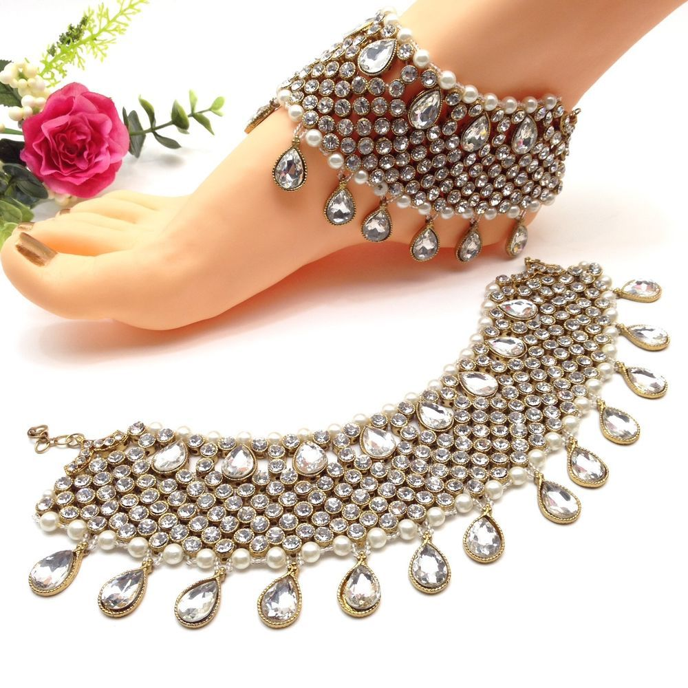 Indian Jewellery Asian Bridal Party Ethnic Wear Bollywood Anklets ...