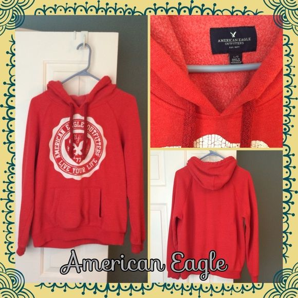 American Eagle red graphic hoodie Gently used graphic hoodie from American Eagle. Size large. Super warm and comfy! These hoodies run a little small I think, it fits more like a medium to me. American Eagle Outfitters Tops Sweatshirts & Hoodies