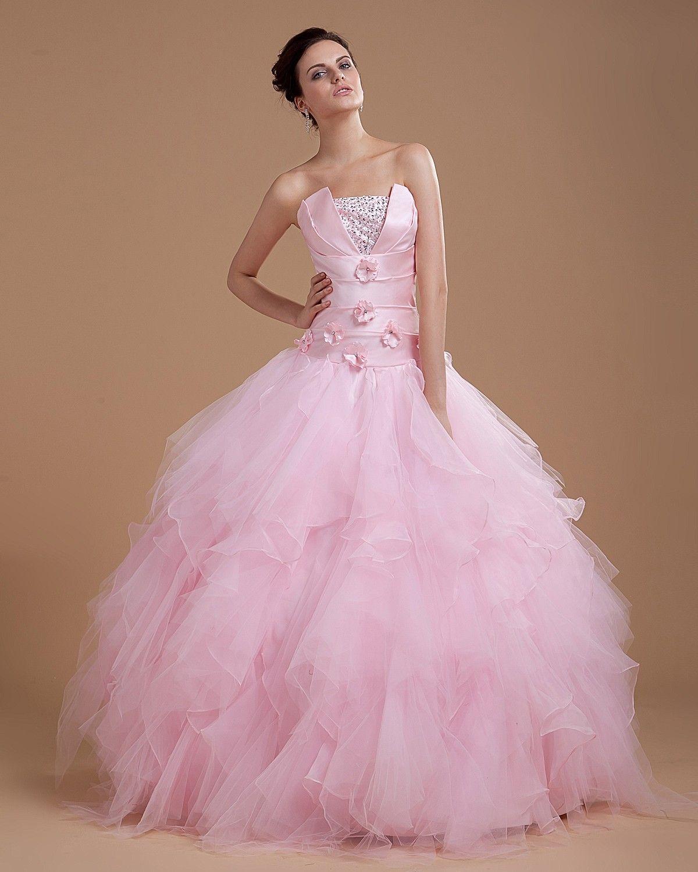 Beading strapless floor length ball gown prom dress ball dresses