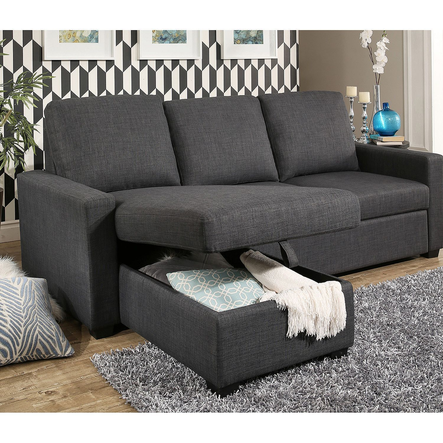 Best Hudson Fabric Reversible Storage Sectional With Pullout 400 x 300
