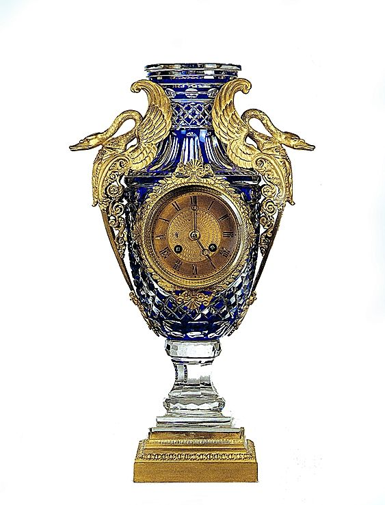A Very Fine Gilt Bronze Mounted Baccarat Crystal Clock Made By La