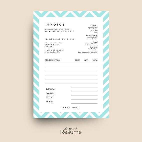 Invoice   Receipt Template for MS Word I Model par TheFrenchResume - cash receipt voucher word format