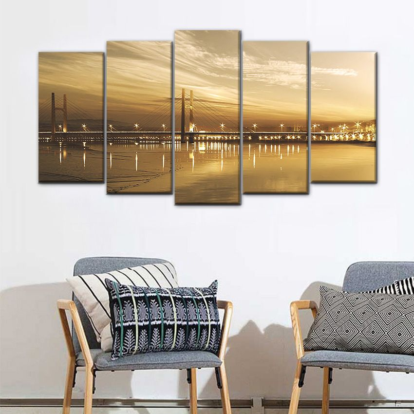 Large Landscape Canvas Set Of 5 Panel Wall Decor Painting Urban Viaduct Night View Art Picture For Living Room Saloon Decoration Living Room Pictures Landscape Canvas Online Wall Art #nice #paintings #for #living #room