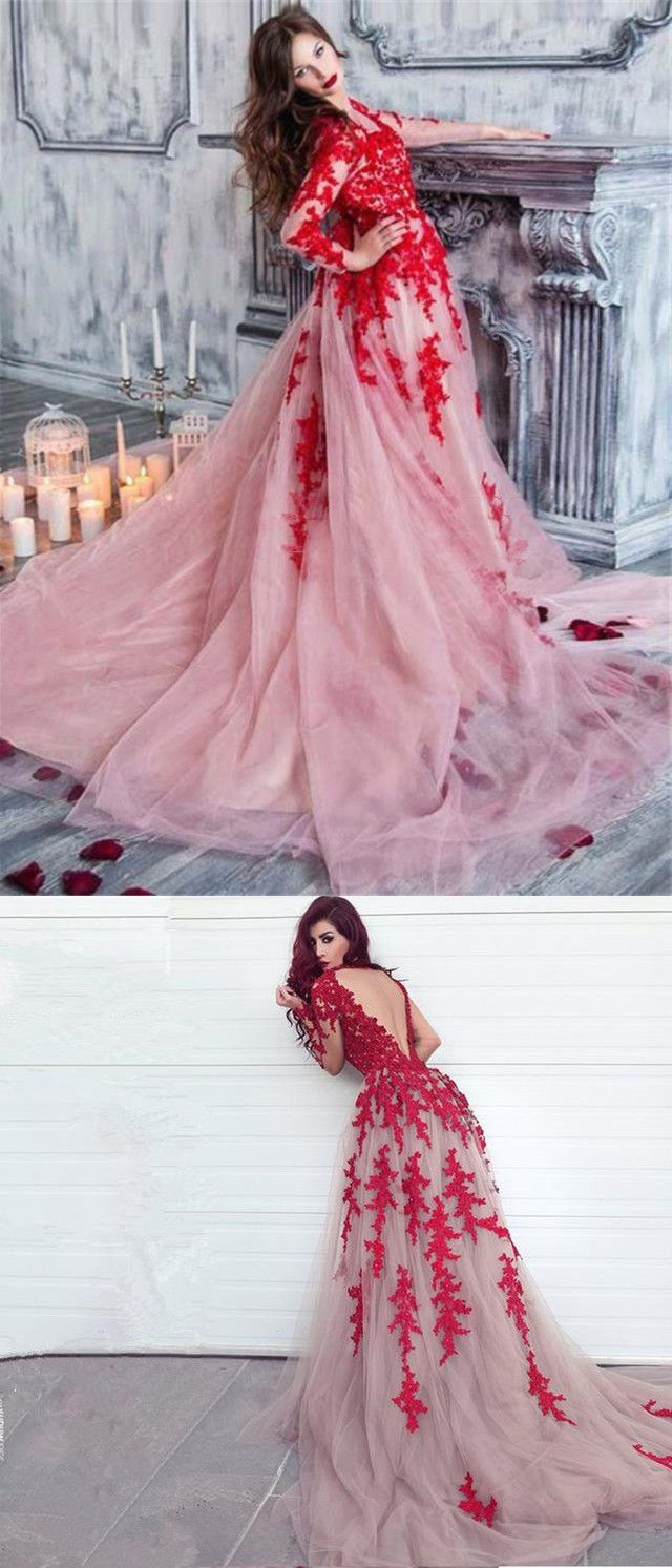 Chic red lace prom dress long sleeve african prom dress er
