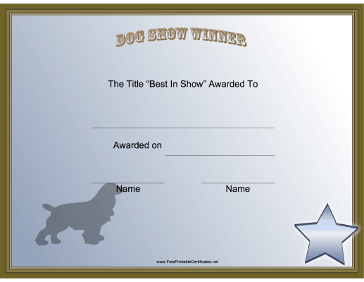 This printable certificate honors the winner in the best for Dog show certificate template