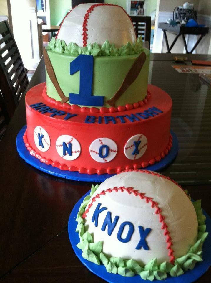 Baseball 1st Birthday Cake And Smash Cake Cakelins Cakes And