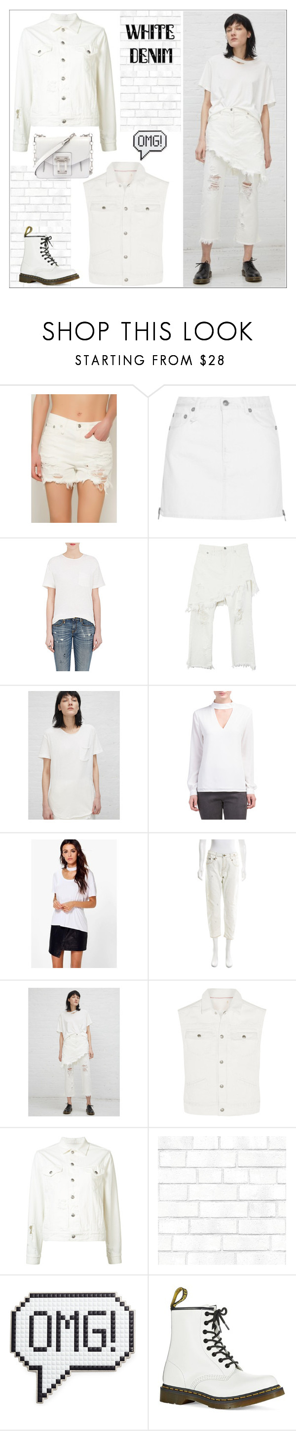 """White Denim, Head to Toe"" by yours-styling-best-friend ❤ liked on Polyvore featuring R13, Boohoo, Tempaper, Anya Hindmarch, Dr. Martens and Proenza Schouler"