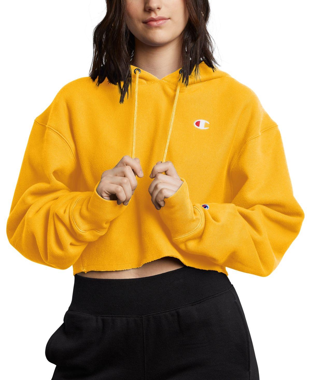 Champion Reverse Weave Cropped Hoodie Team Gold Cropped Hoodie Trendy Hoodies Cropped Hoodie Outfit [ 1466 x 1200 Pixel ]