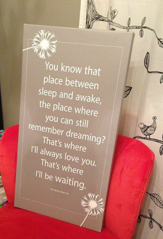 """16x30 canvas wrap with a fun quote from """"Peter Pan"""".  These are printed in house and stretched by hand. The colors for this piece is Grey and White. If you are looking for a particular color please contact us and we can create a custom color combo for you. This art piece will be finished with a spray and ready to hang on your wall!"""