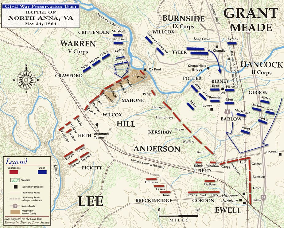 Civil War Battle Maps The Battle Of North Anna Civil War - Us civil war battle map