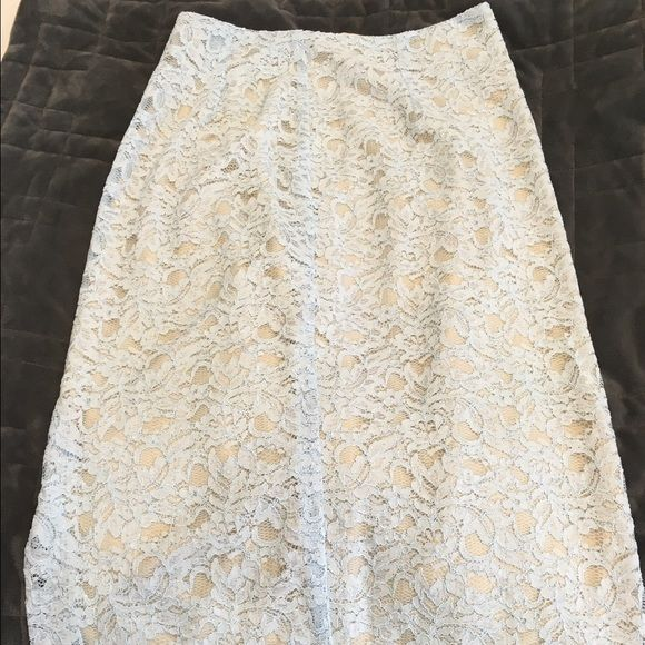 Lace skirt Baby blue and beige lace skirt never worn with a small split on the side knee length Worthington Skirts Pencil
