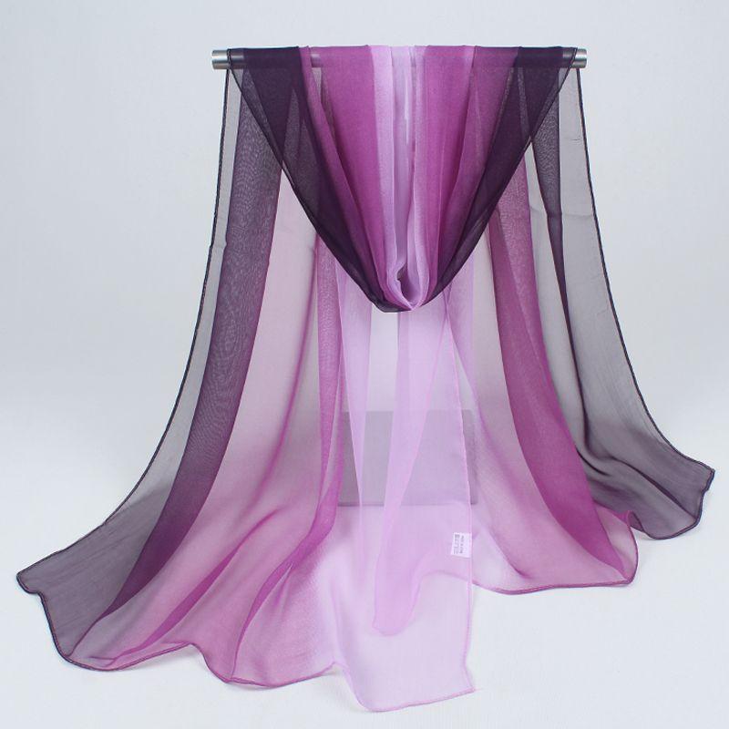 cdf11d2414f4 Hijab 2017 femmes foulards mode et coloré joker couleur pure mousseline de soie  nouvelle crème solaire écharpe serviette de plage gradients gros