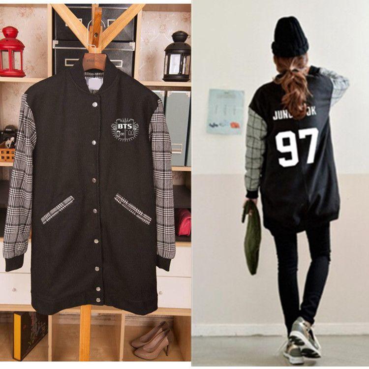d12a6b93ba6e4 Cheap BTS jungkook antibalas ropa abrigo largo deben usar A.R.M.Y kpop exo  sudadera con capucha del béisbol chaqueta de béisbol otoño