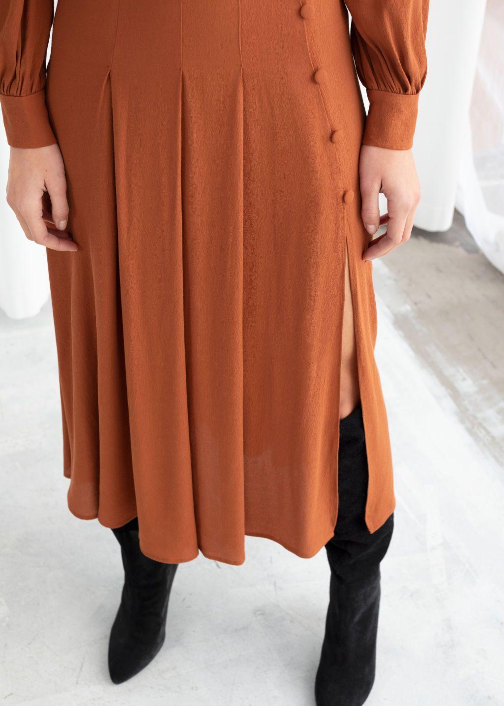 d0e256da9e Model back image of Stories long sleeve button slit midi dress in orange